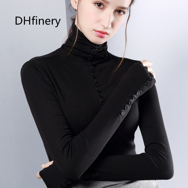 DHfinery warm t shirt women autumn winter long-sleeve turtleneck Button Knitting elastic black white brown top Tees sg27310