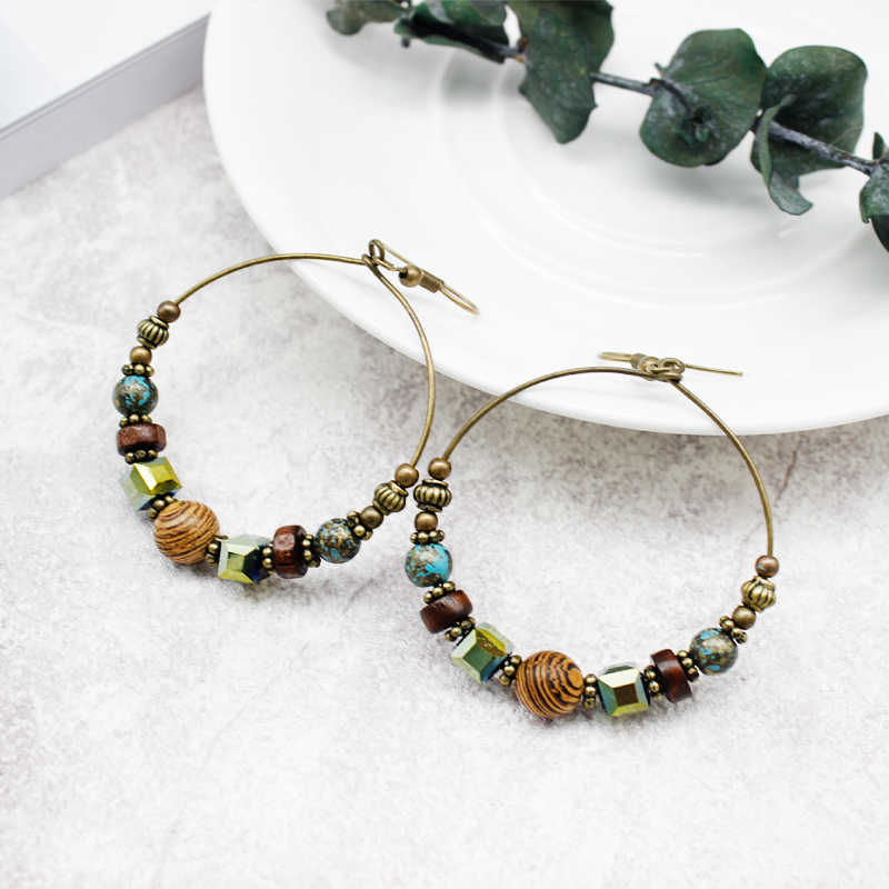 Bohemian Colorful Rhinestone Wooden Beads Earrings Exaggerated Round Retro Beads Charm Earrings Female Holiday Jewelry