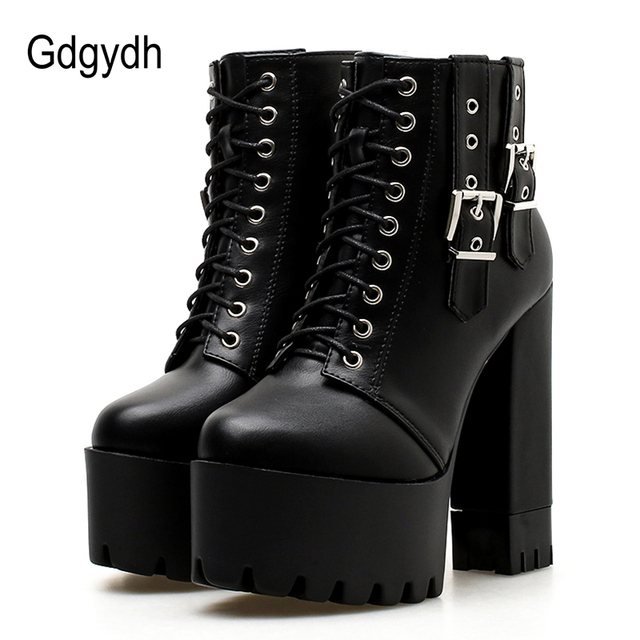 Gdgydh Women Lacing High Heel Ankle Boots Platform Female Boots Shoes Buckle Round Toe Ladies Party Shoes Rubber Sole Promotion