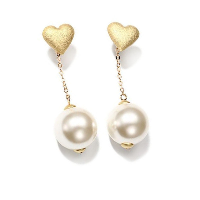 Gold Pearls Earrings Women Long Elegant Jewelry New Heart Shape Fashion Gifts Em1577