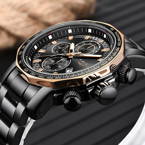 Image 2 - LIGE relojes de moda para hombre, reloj masculino de cuarzo analógico, con esfera grande militar, cronógrafo deportivo, 2020