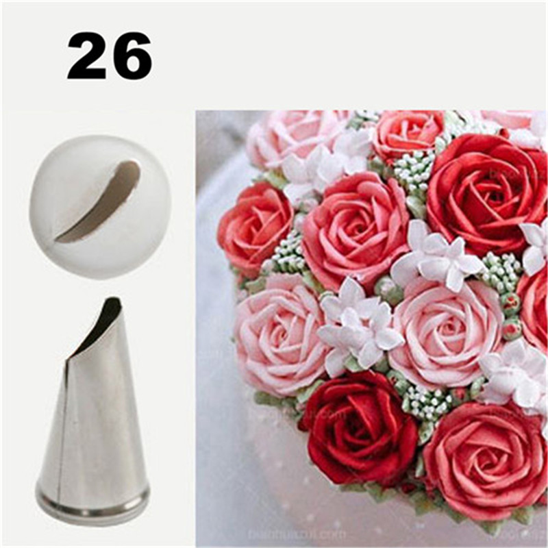#26 Cake Decorating Tips Cream Icing Piping Sugarcraft Rose Flower Nozzle Pastry Tools Fondant Decorating Tools