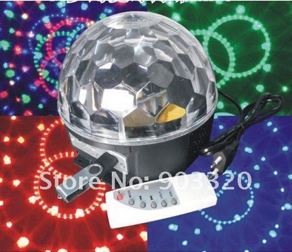 Fresshipping Cheap price RGB LED Magic Ball Light With MP3 Player for Disco Party,KTV,Club,DJ Effect Light mini rgb led party disco club dj light crystal magic ball effect stage lighting