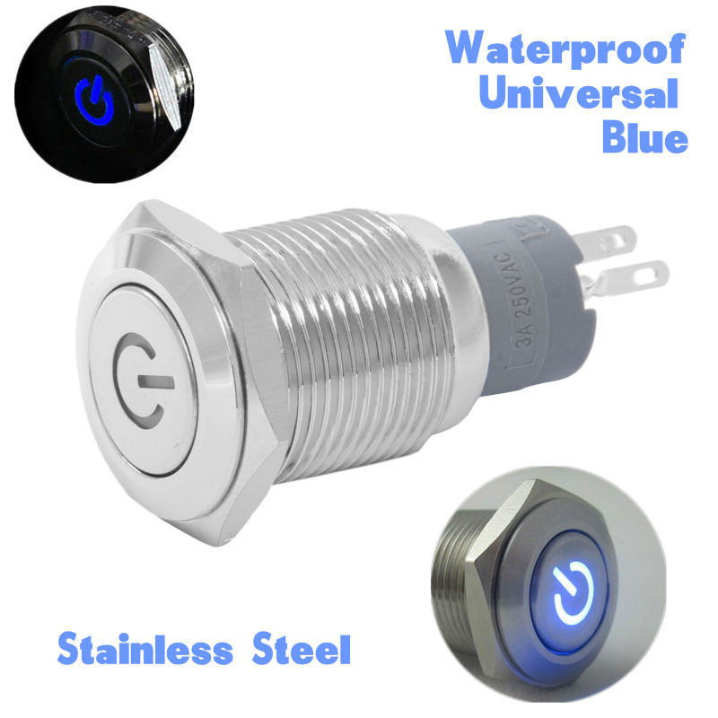 1X 12V 3A 16mm Blue LED Stainless Steel Power Push Botton Switch On Off Control