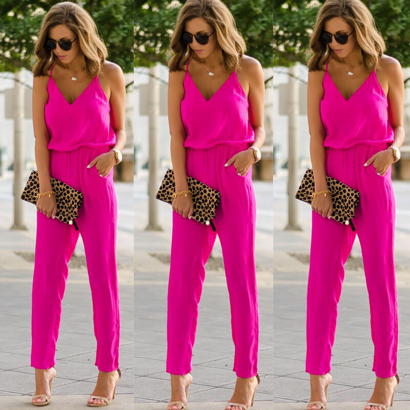 Women Spaghetti Strap Wide Legs Bodycon Pockets Jumpsuit V-neck Sleeveless  Romper Trousers Clubwear Playsuit Sunsuit