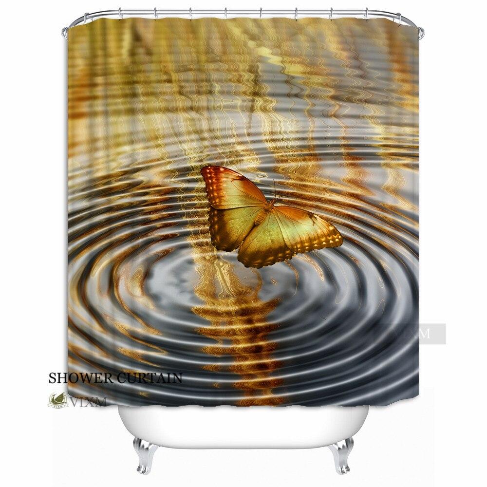 Vixm maison magnifique papillon tissu rideau de douche papillon volant sur les rideaux de bain d'eau pour salle de bain