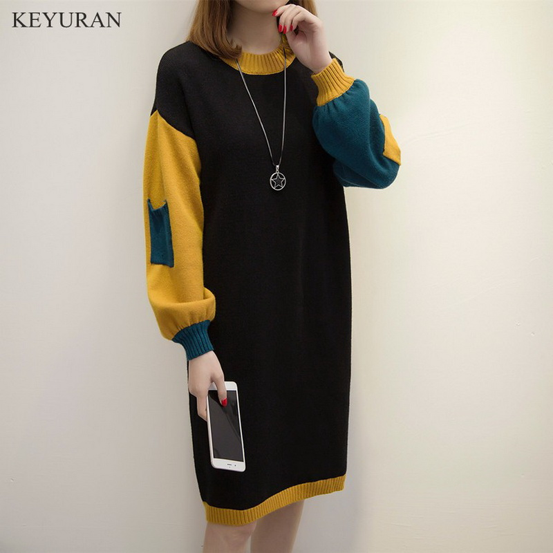 2019 Spirng New Women Plus Size XL-4XL Long Sweater Female Long Sleeve Large Size Casual Spell Color Loose Sweater Dress L1779