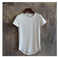 S 4XL New Summer 100 Cotton Slim T Shirt Curviplanar Irregular Sweep O Neck Short Sleeve