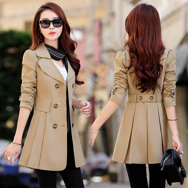 FTLZZ New Women's Trench Coat Spring Autumn Black Green Slim Double Breasted Windbreaker Outerwear Female Casual Trench Coat 3
