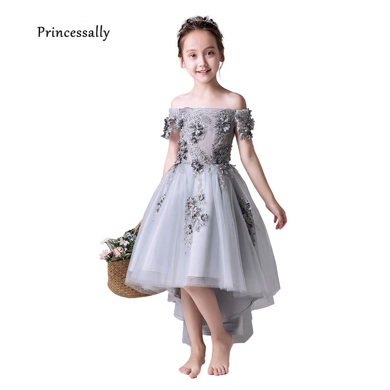 New Grey Flower Girl Dress High Low Boat Neck Appliques