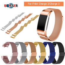 BEYESE Stainless Steel Magnetic Milanese Loop Band for Fitbit Charge 2 Replacement Wristband Strap for Fitbit Charge 3 Watchband все цены