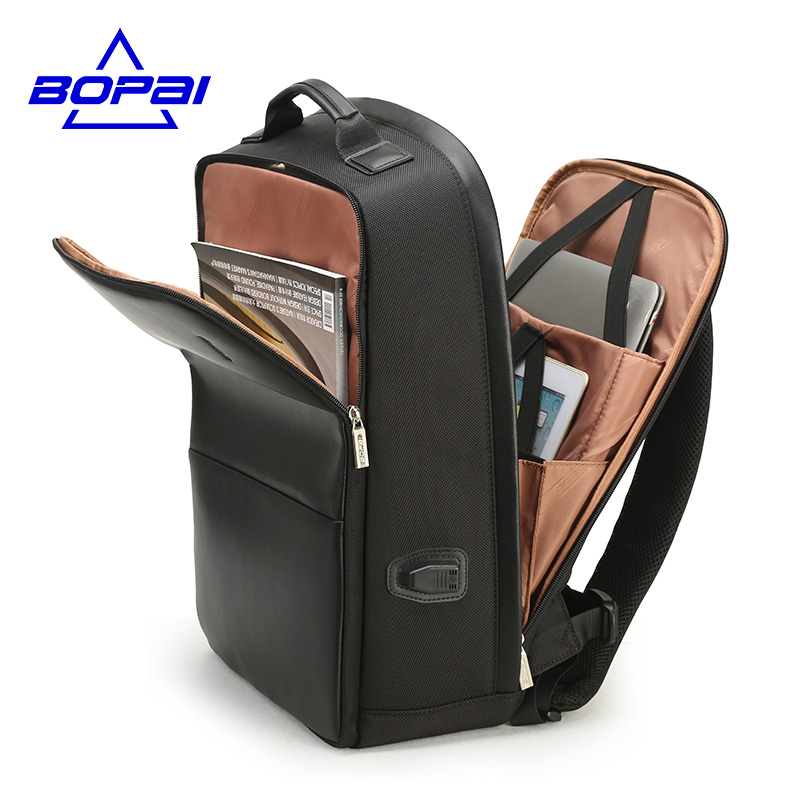 BOPAI USB Charge Backpack Men Leather for Travelling Fashion Cool School Backpack Bags for Boys Anti Theft laptop backpack 2018 munchkin игрушка для ванны школа рыбок 12 munchkin