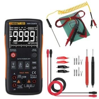 Q1 True-RMS Digital Multimeter Button 9999 Counts Analog Bar Graph AC/DC Tester