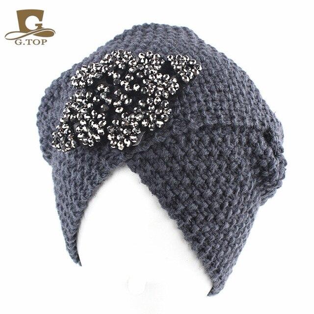 NEW Luxury Divas Winter Knit Turban Beanie With jeweled flower indian style head  wrap turbante c68bf011d10