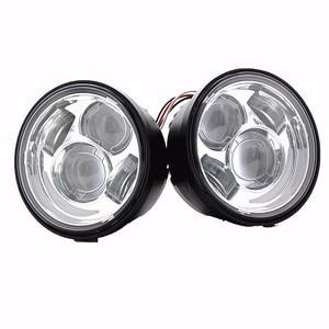 """Image 2 - 2 pièces Moto rcycle 4.65 pouces moto phares ronds pour Harley Dyna FXDF modèle conduite lampes 5 """"gros Bob projecteur LED phares"""
