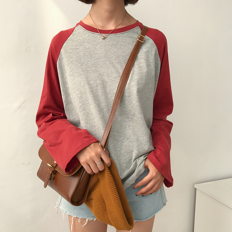 2017 New Fashion College Wind Loose Casual Simple All Match Raglan Long Sleeve Female   T  -  shirts