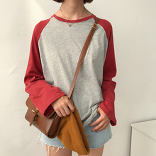 2017 New Fashion College Wind Loose Casual Simple All Match Raglan Long Sleeve Female T-shirts