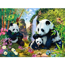 5D DIY diamond embroidery panda family  painting Cross Stitch full square drill Rhinestone mosaic decoration