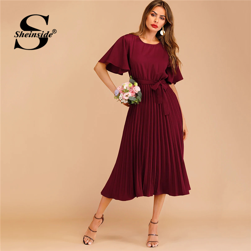 Sheinside Burgundy Button Keyhole Pleated Belted Dress Flounce Sleeve Women 2019 Spring Dresses Elegant Solid Ladies Dress