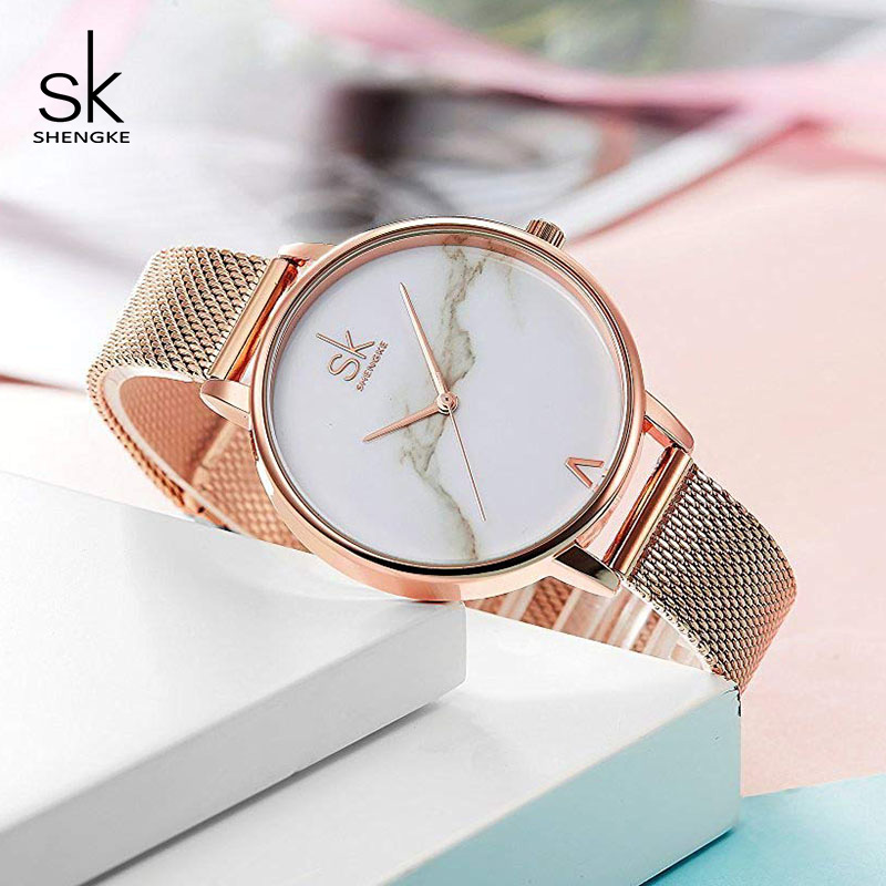 Shengke Creative Marble Dial Watches Women Luxury Stainless Steel - Dameshorloges - Foto 4