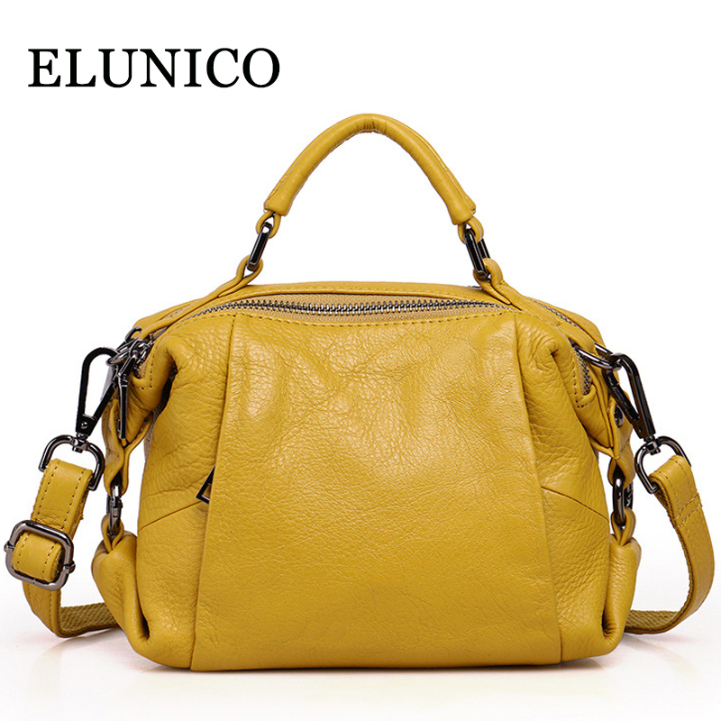 ELUNICO Women Genuine Leather Ladies Tote Bags New 2018 Summer Female Small Fashion Cowhide Shoulder Messenger Bag Sac A Main elunico 2018 new large capacity cowhide tote bags handbags women famous brands genuine leather messenger shoulder bag sac a main