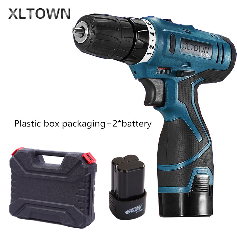 Xltown 16.8v rechargeable lithium battery durable electric screwdriver with 2*battery Plastic box packaging  Electric drill tool replacement rechargeable 3 7v 2000mah lithium battery pack with screwdriver for nintendo 3ds