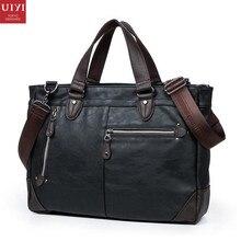 UIYI Fashion Men PU Leather Handbag Business Shoulder Man Bag Vintage Tote Messenger Laptop Bolsa Travel Crossbody Bags 150071