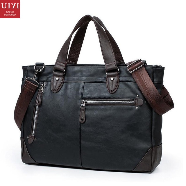UIYI Fashion Men PU Leather Handbag Business Shoulder Man Bag Vintage Tote Messenger Laptop Bolsa Travel Crossbody Bags 150071