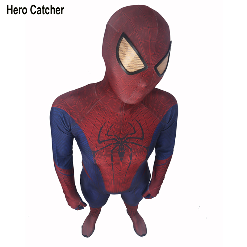 Hero Catcher High Quality 3D Movie Amazing Spiderman Costume Adult Spandex Suit Custom Made Amazing Spiderman Fullbody Suit