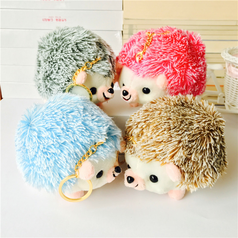 12CM Plush Hedgehog Toys Key Chain Ring Pendant Plush TOY Animal  Stuffed Anime Car Fur Gifts For Women Girl Toys Doll