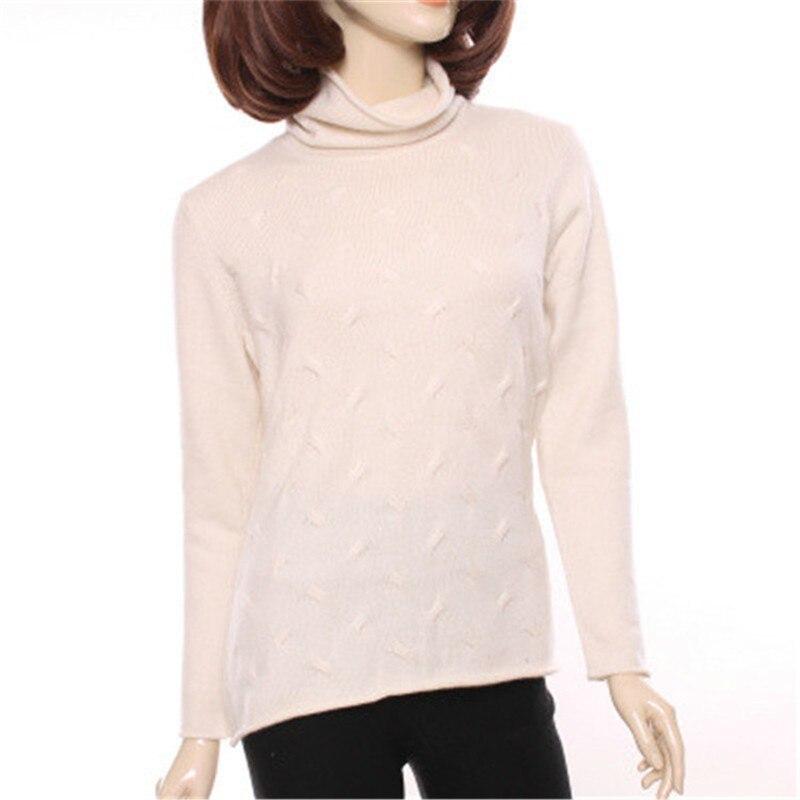 Высокого качества 100% Шевро кашемировая Водолазка вязаная женская мода сладкий пуловер свитер бежевый белый 3 вида цветов S 2XL
