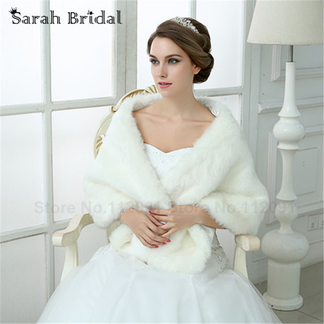 2016 Winter Women Wedding Jacket Bolero Faux Fur Coat Stoles White Wraps Bridal Shawl For