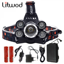 Litwod Z30 NEW 15000Lm XML T6 5 LED Headlight Headlamp Head Lamp Light 4 mode torch 2×18650 battery Car charger for fishing