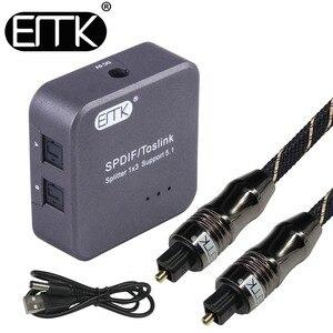 Image 1 - Divisor de áudio óptico digital spdif toslink, divisor de 1 entrada 3 saída óptica, caixa adaptadora com suporte para 5.1 alto falante e dvd