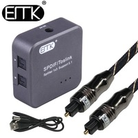 Optical Audio Splitter Digital SPDIF Toslink Splitter 1 input 3 Output Optical Splitter Adapter Box support 5.1 speaker DVD