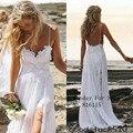 Сексуальные фантазии пляж свадебные платья спагетти спинки белый кот кружева свадебное платье