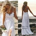 Sexy Fancy Beach Wedding Dresses Spaghetti Backless blanco marfil encaje vestido de novia