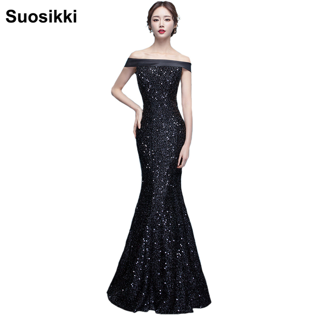 2018 New Fashion Long Mermaid Evening Dresses Sexy Off Shoulder shinning Evening  Gowns Robe de soiree Prom Party Gowns 772beaa742d9