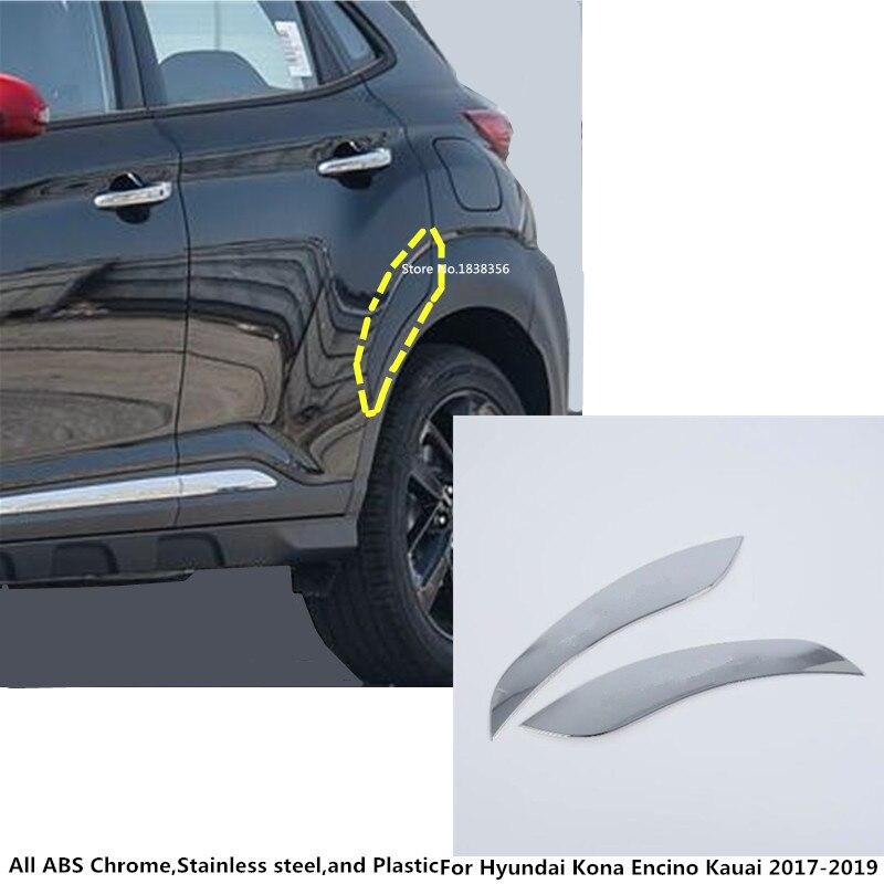 ABS Chrome Rear Window Triangle Cover Trim 4pcs for Hyundai Kona 2017-2018
