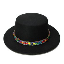 44fd41c3024 LUCKYLIANJI Women Men Vintage 100% Wool Wide Brim Cap Pork Pie Porkpie  Bowler Hat Nation