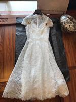 2019 новые женские модные с коротким рукавом v образным вырезом с подтяжками шелковые кружевные платья 0517