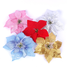 100pcs free shipping Artificial fake flower material christmas poinsettia decoration