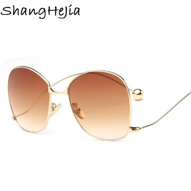 Summer Style Gradient Fashion Sunglasses Women Oversized Clear Lens Optics  Metal Frame UV400 Vintage Sun Glasses 2b176c5dcd