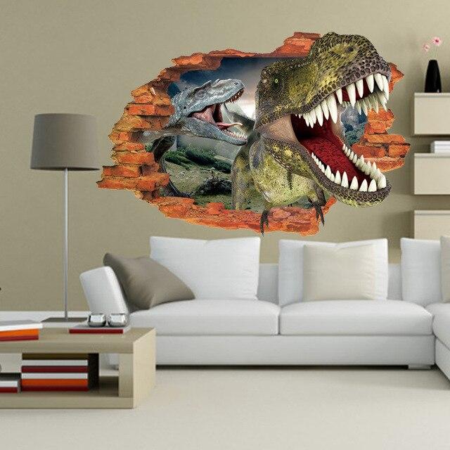 Dinosaur Animal DIY 3D Vision Cracked Wall Stickers Modern Vinyl ...