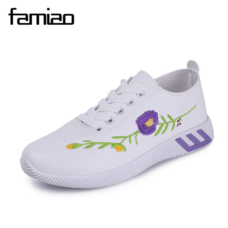FAMIAO Embroidery Rose moccasins soft walking shoes women White casual shoes Female espadrilles lady students shoes Tufli Tenis
