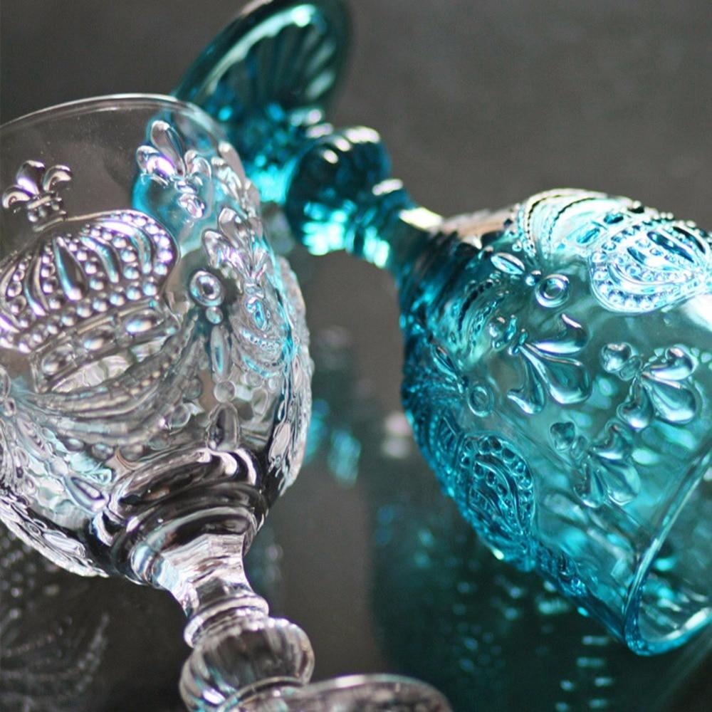 New KEYAMA 1 Pcs Colored glass Retro relief Bourbon crown juice glass goblet Red wine fruit juice glass Home decorative goblets