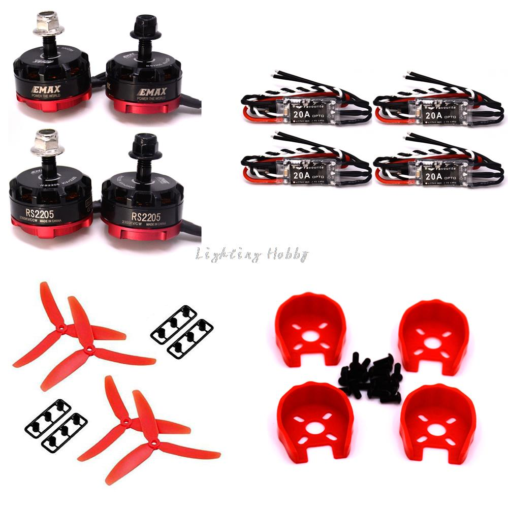 Фотография RS2205 2205 2300KV Brushless Motor +4 PCS Little bee 20A ESC+ Motor Cover + 5030 prop For 250 Quadcopter
