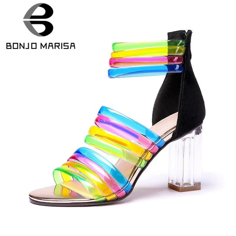 BONJOMARISA 2019 New Plus Size 31-45 Colored Gladiator Sandals Women Summer High Heels Women Sandals Shoes WomanBONJOMARISA 2019 New Plus Size 31-45 Colored Gladiator Sandals Women Summer High Heels Women Sandals Shoes Woman