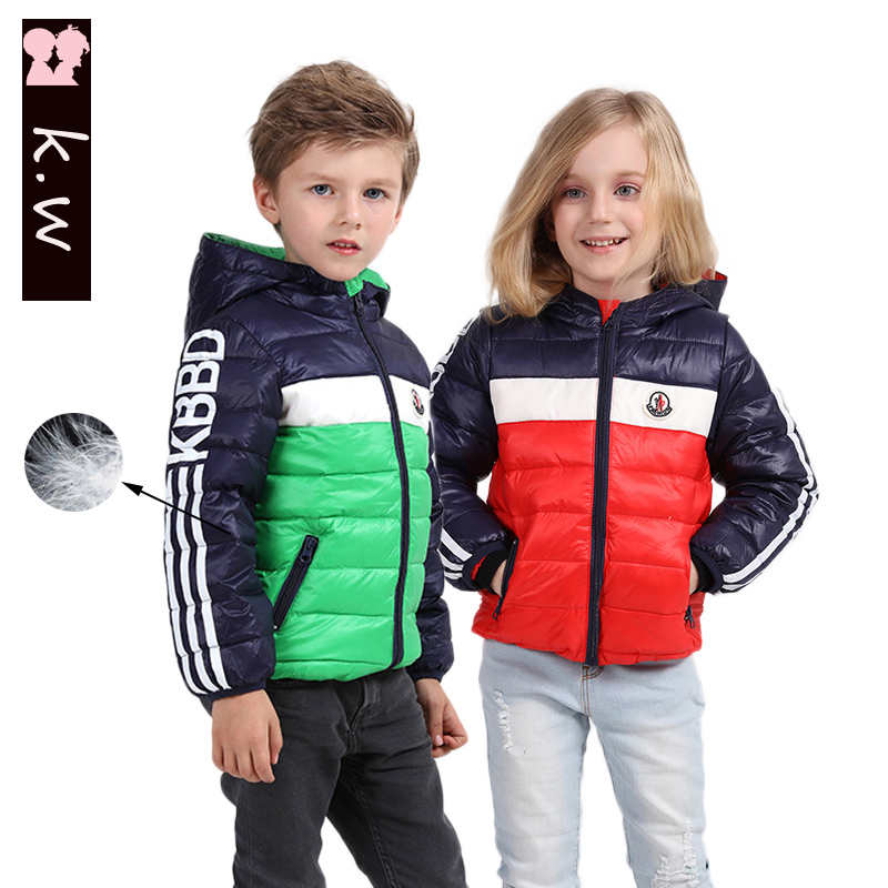 Brand KW Winter Boys Girls White Duck Down Warm Down Coat 2016 Fashion Kids Clothes Outerwear