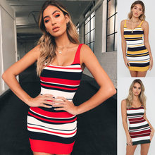 2018 New Women Sweater Dress Yellow Wine Red Striped Knitted Dress Knitwear Sexy Off Shoulder Tank Top Club Party Night Dresses(China)